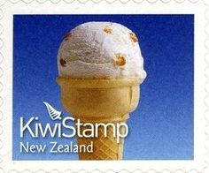 Stamp: Hokey Pokey (New Zealand) (Kiwi Stamps 2011) Sg:NZ 3269b Food Stamps, Stamp Collecting, Kiwi, New Zealand, Cooking Recipes, Ice Cream, Breakfast, Desserts, Storage