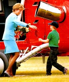 """Princess Diana greeting her son, Harry. Harry loved his Mum  and she loved her boys.  :'(  His flowers """"For Mummy"""" at her funeral made me cry even harder."""