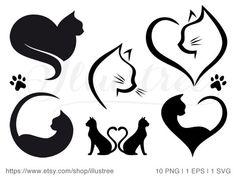 Black Cat Tattoos, Dog Tattoos, Clipart, Logo Gato, Haut Tattoo, Paw Print Art, Animal Line Drawings, Cat Template, Cat Design