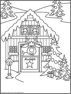 FREE Printable Christmas Coloring Pages - Reindeer