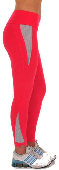 """Bia Brazil Dash Legging – These trendy leggings have inserted mesh on outer hip and lower leg to help keep you cool during your workout. Leggings end in a 1"""" band that splits on outer ankle. Has 3"""" waistband. Low-rise. #LE 2814 Supplex/Lycra  Colors: Coral/Gray (shown), Black/Fuchsia, Black/Red, Black/White, Black/Black, Charcoal/Gray, Royal/White, Violet/White  Price: $69.95"""