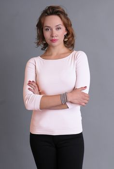 SALE - Three Dots Fitted British Boatneck Tee with Sleeves Tanks, Tank Tops, Three Dots, Every Woman, Eileen Fisher, Boat Neck, Tee Shirts, British, Luxury