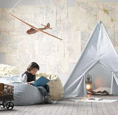 This room would inspire lots of adventures  Glamping   and creative play. Love the matching tee-pee and beanbag. Could also print your own wall maps (free ones available here http://www.davidrumsey.com/) x