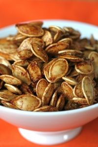 Spiced pumpkin seeds (or, try with squash seeds!)