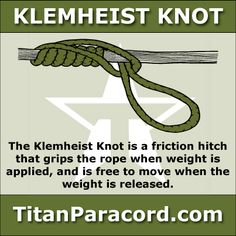The Klemheist Knot or Machard knot is a type of friction hitch that grips the rope when weight is applied, and is free to move when the weight is released. It is used similarly to a Prusik knot or the Bachmann knot to ascend or descend a climbing rope.