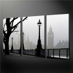 Amazon.com - 3 Piece Wall Art Painting Pictures Print On Canvas Black And White Big Ben Mist London The Picture For Home Modern Decoration O...