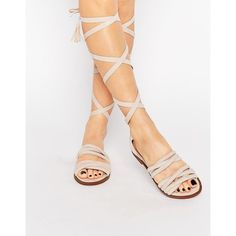 Public Desire Maddison Beige Tassel Wrap Flat Sandals ($41) ❤ liked on Polyvore featuring shoes, sandals, beige, tie sandals, wrap sandals, flat shoes, flat soled shoes and lace up sandals