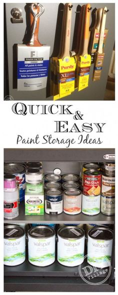 Quick and easy paint storage solutions ... great idea for storing paint brushes!