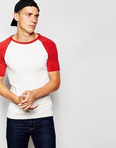 """Muscle fit t-shirt by ASOS Stretch jersey Crew neck Slim cut raglan sleeves Tight fit to the body Skinny fit - cut closely to the body Machine wash 96% Cotton, 4% Elastane Our model wears a size Medium and is 189cm/6'2.5"""" tall"""