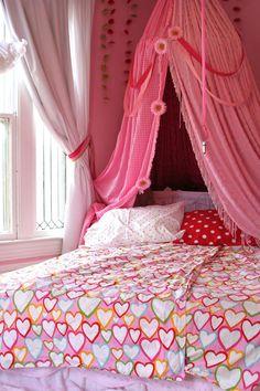 Ikea heart comforter cover - for the rainbow room Bed Tent, Tent Canopy, Cosy Room, Rainbow Room, Simple Bed, Teen Girl Bedrooms, Diy Bed, Little Girl Rooms, Dream Bedroom
