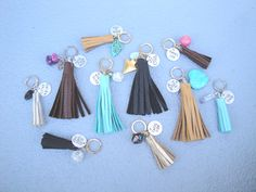 Keychains for daysss  Leather, tassels, custom, handstamped, personalized, gifts, crystals, keychain  blueandblueshop.etsy.com