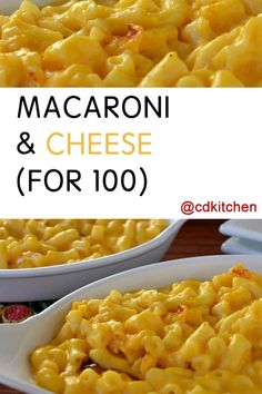 This mac and cheese recipe is great for large groups and is made doubly cheesy and creamy with both velveeta and cheddar cheese.| CDKitchen.com