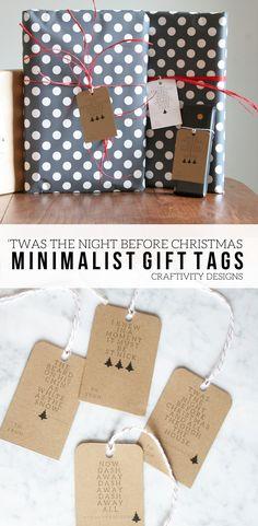 """50+ Free Printable Gift Tags, """"Twas the Night Before Christmas"""" Minimalist Gift Tags, Free Printable by @CraftivityD #freeprintable #minimalism #gifttag via @craftivityd"""