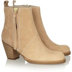 Acne The Pistol brushed-leather ankle boots ($570) ❤ liked on Polyvore
