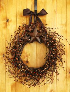 Primitive BROWN SUGAR- Rustic Rusty Star Wreath-Fall Door Wreaths-Primitive Country Decor-SCENTED Cinnamon Vanilla-Choose Scent and Ribbon. $60.00, via Etsy.