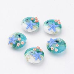 Jewelry Beads Ocean Style Handmade Lampwork Beads,Flat Round with Starfish,CornflowerBlue,20x10mm,Hole: 1mm; about 12pcs/box