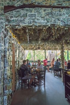 Dollar bills line the walls and ceilings of Cabbage Key restaurant, a fun thing to do in Fort Myers.