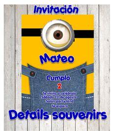 INVITACIONES DE MINIONS DISEÑO Y CREACION DE INVITAION DE FIESTAS   DETAILS SOUVENIRS FACEBOOK