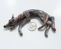 Greyhound Whippet Sculpture Figurine Brindle Relaxing