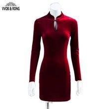 Vvob & rong 20116 novo estilo vintage magro mulheres red velvet dress manga comprida de flanela senhora formal dress pacote hip dress vestidos alishoppbrasil