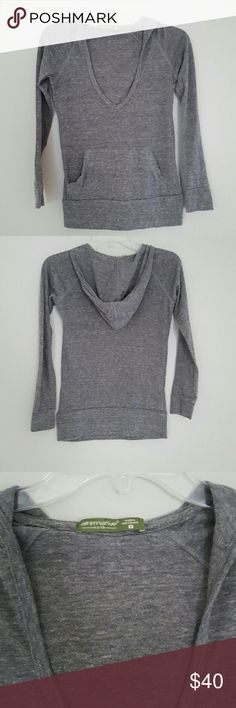 Gray Earthy Hoodie Lightweight gray hoodie with v neck. Classic, great for working out or for travel. 50% polyester 38% cotton 12% rayon. Made in Dominican Republic. Alternative Earth Sweaters V-Necks