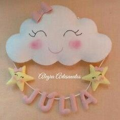 Photos and Videos Baby Crafts, Felt Crafts, Diy And Crafts, Craft Projects, Sewing Projects, Projects To Try, Cloud Party, Baby Shawer, Felt Diy