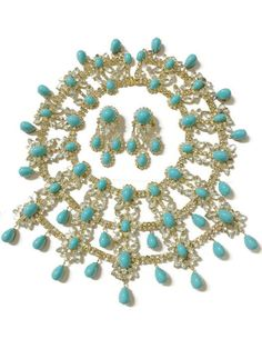 Vintage Kenneth Jay Lane K.J.L. Haute Couture Turquoise Necklace & Earrings Set #KennethJayLane