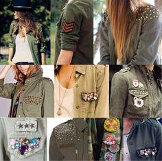 Creating DIY Fashion Trends – Designer Fashion Tips Fashion Details, Diy Fashion, Ideias Fashion, Fashion Outfits, Fashion Design, Military Chic, Military Fashion, Do It Yourself Fashion, Painted Clothes