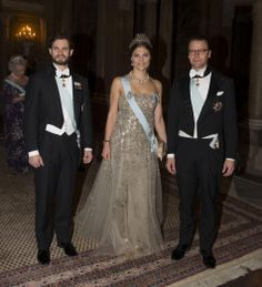 (L-R) Sweden's Prince Carl Philip, Crown Princess Victoria and Prince Daniel arrives for the dinner at the Royal Palace in Stockholm in honor of the winners of the Nobel Prize, 11.12.13