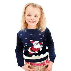 Piekny dziecięcy #świąteczny #sweterek z mikołajem i snieżynkami.