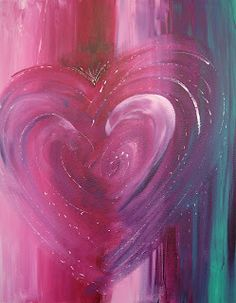 "Art by Mary Beth Volpini ~~""I decided to use this turquoise color and some of my favorites -magenta and crimson. Once I blended all of the colors vertically, it was too boring so I added the heart. The Colors of Love."