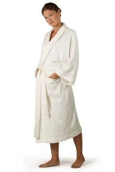 Bamboo Terry Cloth Robe for Women - Ecovaganza - Terry Bath Spa Robe in Natural White (Bamboo Viscose + Cotton) - An Eco Friendly Gift of Luxury - Women`s Terry Bathrobe