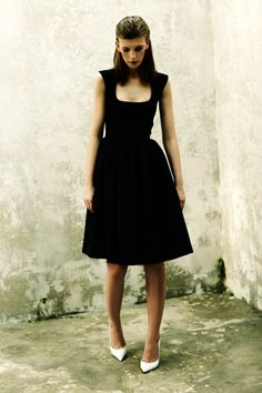 Classic black dress with white pumps. Preen Resort '13