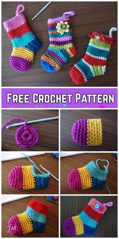 Baby Knitting Patterns Crochet Christmas Socks Free Crochet Patterns - Video tutorial of rainbow Christmas stocking 20 Easy Crochet Ornaments and Projects for Christmas - For Creative Juice Crochet Christmas Decorations, Crochet Decoration, Crochet Ornaments, Christmas Crafts, Christmas Christmas, Crochet Christmas Stockings, Free Christmas Crochet Patterns, Christmas Ideas, Easy Ornaments