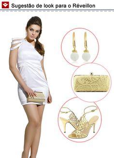 Mais uma dica de look para o Réveillon, meninas! Vestido branco curto, com recortes diferenciados nos ombros, e, para finalizar, acessórios metalizados na cor dourada! Gostaram?