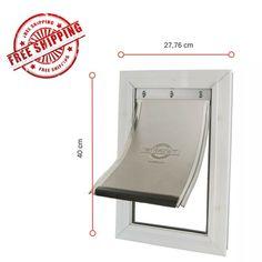 Strong Pet Door Flap Medium Aluminium 620ML White Dog Cat 2 Way Flexible Locking