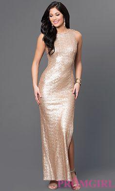 95e1b7bf67875 Gold Sequin Long Sleeveless Dress by Emerald Sundae