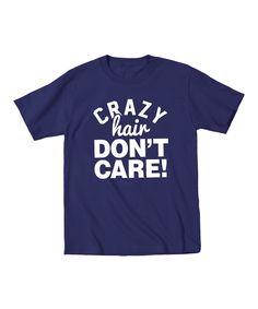 Navy 'Crazy Hair Don't Care' Tee - Toddler & Kids
