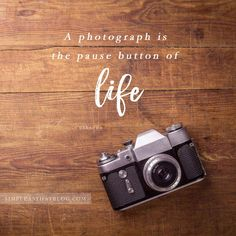 12 Quotes to Inspire your Photography Journey // A photograph is the pause button of life. - unknown #toplifequotes