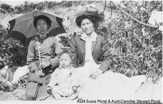 Susie Wong (Pond) on left; Sidney Pond (not Stewart, from personal conversation with Sidney Pond in 2012); Caroline Lee (married Samuel Yong late in life), right. About 1926.