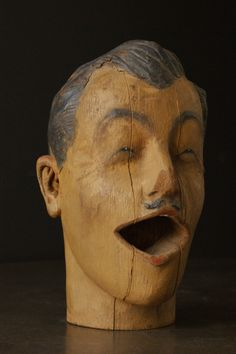 c. 1890's Carved American Carnival Head image 2