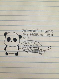 Sad Panda takes his heart on a walk