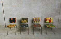 Be inspired by the simplicity of these chairs by famous Austrian sculptor Franz West, made with African fabrics.