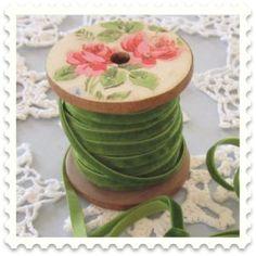Spool of green velvet ribbon Spool Crafts, Diy Crafts, Wood Spool, Christmas Aprons, Ribbon Work, Green Ribbon, My Sewing Room, Thread Spools, Velvet Ribbon