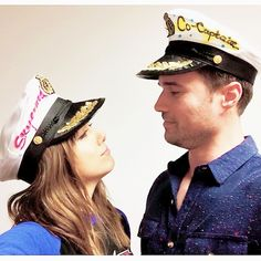 """Chloe Bennet and Brett Dalton wearing their """"Skyeward Co-Captain"""" hats. Hats made specifically for them by a member of the Grant Ward Defense League."""
