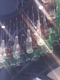 Can change glass bottles to plastic water bottles and fill with different items to make noise (wind chime)