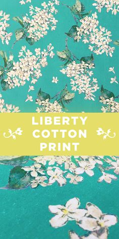 Liberty of London Illustrated Floral Cotton Lawn Print on Aquamarine Background #Design #Pattern #Fashion