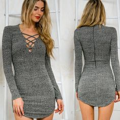 Women Knitting Long Sleeve Sweater Lace Bodycon Dress