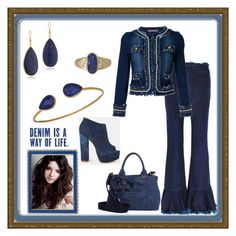 """Delightful Denim Duds"" by mcronald-denise ❤ liked on Polyvore featuring Marques'Almeida, Guild Prime, Prada, Panacea, Janna Conner Designs and Haffke"