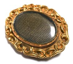 Rococo Style Victorian Glazed Hair Locket Brooch - Gold Fill